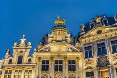 Guildhalls på Grand Place i Bryssel, Belgien. Royaltyfria Bilder