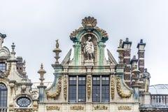 Guildhalls på Grand Place i Bryssel, Belgien. Arkivbilder