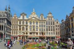 Guildhalls på Grand Place i Bryssel, Belgien Arkivfoton