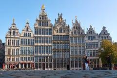 Guildhouses i den gamla staden av Antwerp Arkivbild
