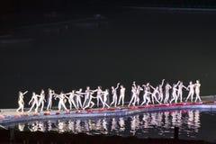 Guilin, Китай, 24-ое марта 2014, perfo выставки Liu Sanjie впечатления Стоковое фото RF