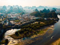 Free Guilin Aerial View With Li River And Rock Formations In China Royalty Free Stock Photography - 126257067