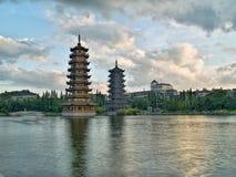 Guilin banyan jeziora w centrum pagody Obrazy Stock