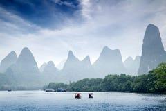 Guilin. Beautiful Yu Long river Karst mountain landscape in Yangshuo Guilin, China Stock Photography