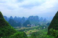 Guilin, China. Fantastic view from the top of Moon Hill on the mountain landscape of Yuoshen, Guilin, China Royalty Free Stock Images