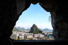 View from Wooden Dragon Cave on Diecai Hill, Guilin, China. GUILIN, CHINA - AUGUST 1, 2013 - View from Wooden Dragon Cave on Diecai Hill, Guilin, China stock images