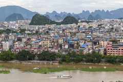 Guilin, China - circa July 2015: Panorama of Guilin and its karst mountains from Fubo  hill Stock Image