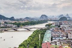 Guilin, China - circa July 2015: Panorama of Guilin and its karst mountains from Fubo  hill Royalty Free Stock Photography