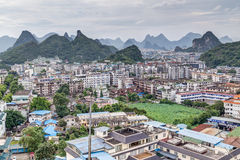 Guilin, China - circa July 2015: Panorama of Guilin and its karst mountains from Fubo  hill Stock Photos