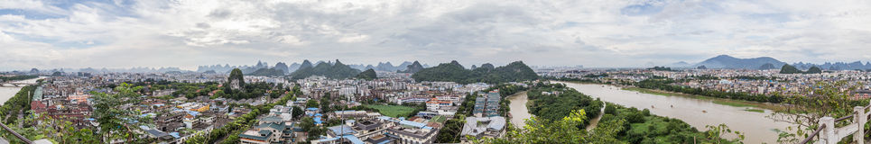 Guilin, China - circa July 2015: Panorama of Guilin and its karst mountains from Fubo  hill Royalty Free Stock Images