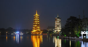 Guilin - China - Pagodas - Fir Lake. Pagodas on Fir Lake in the city of Guilin in southwest China Royalty Free Stock Photography