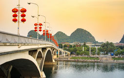 GUILIN, CHINA - SEPTEMBER 22, 2016: Bridge over Li river in the Stock Photos