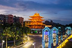 Guilin, China, Xiaoyao Tower view at blue hour stock photography