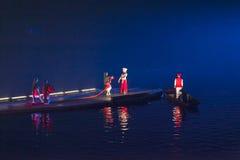 Guilin, Chiny, Marzec, 24th, 2014, wrażenia Liu Sanjie przedstawienia perfo Zdjęcia Stock