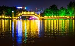 GUILIN CHINY, WRZESIEŃ, - 22, 2016: Huizhou Jiuqu most na Obrazy Stock