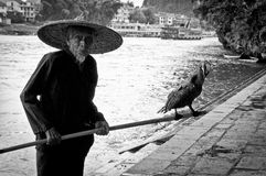 Guilin fisherman BW Royalty Free Stock Photo
