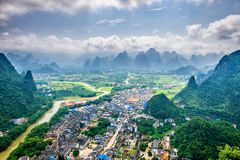 Karst Mountains in Guilin,China. Guilin, Guangxi, China karst mountains on the Li River Stock Photo