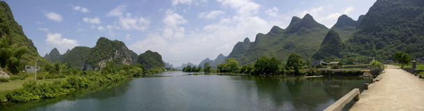 Guilin and its Li Jiang tropical river in China. Royalty Free Stock Photo