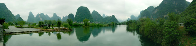 Guilin landscape. These dramamatic tower-like karsts peaks are found in and around Lijiang River,Guabgxi Province,China Royalty Free Stock Image