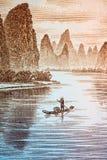 Guilin-Landschaft auf chinesischem Bargeld Lizenzfreie Stockbilder