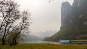 Guilin landskap av fartyget Arkivfoton