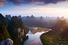 Guilin mountains. And rivers When the Sunset, in xingping Yangshuo china Royalty Free Stock Images
