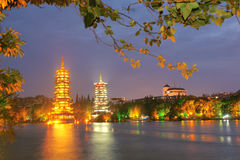 Guilin night scene. The night scene of twin towers in Guilin City, Guangxi, Chibna Stock Images