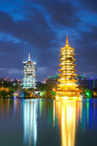 Guilin night scene. The night scene of twin towers in Guilin City, Guangxi, Chibna Royalty Free Stock Photo