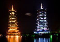 Guilin pagody dwie porcelanowe Obraz Royalty Free