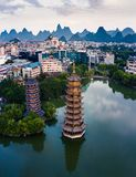Guilin Park Twin Pagodas in Guangxi province of China stock photo