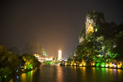 Guilin's Mulong Lake and Dai Cai Hill at Night Stock Images