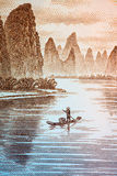 Guilin scenery on chinese currency Royalty Free Stock Images