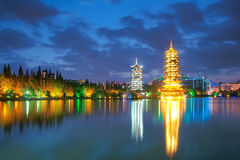 Guilin scenery. The nightscape of sun and moon twin towers in Guilin, Guangxi, China Stock Photos