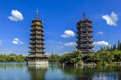 Guilin Sun and Moon Twin Towers Stock Photos