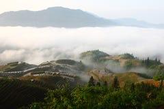 Guilin-Terrasse mit Nebel Lizenzfreie Stockfotografie