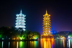 Guilin towers in illuminated city park in Guangxi, China Stock Photos