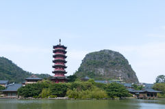 Guilin wooden dragon tower Royalty Free Stock Photos