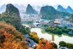 Guilin Yangshuo Lijiang River landscape Twilight stock images