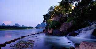 Guilin Yangshuo solnedgång Royaltyfri Foto