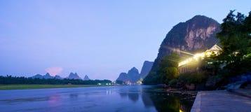 Guilin Yangshuo solnedgång Arkivbild