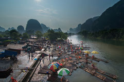 Guilins scenery. Guilin of Chinas bamboo boat workers Royalty Free Stock Images