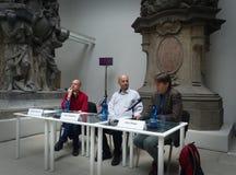 Guillaume baset, Goce Smilevski i Ales Steger na Książkowym Światowym Praga 2017, Obraz Royalty Free