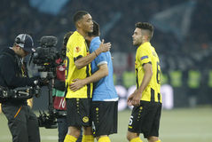 Guillaume Hoarau and Leonardo Bertone Young Boys Berne v FC Naples Liga Europa Stock Images