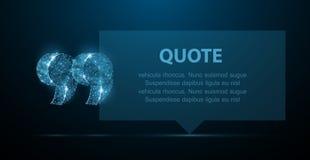 guillemet Bulle vide moderne abstraite de la parole avec des marques de citation sur le fond bleu-foncé illustration stock