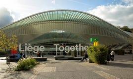 Guillemins drevstation i Liege i Bryssel Arkivbilder