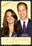 Guillermo y Kate Australian Postage Stamp Imágenes de archivo libres de regalías