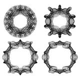 Guilloche abstract circle frame set in black line design, fine swirly design elements. Vector EPS 10 Royalty Free Stock Image