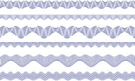 Guilloche borders. Vector pattern for currency, certificate or diplomas Stock Photos