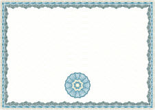Guilloche Certificate Template. Guilloche Background for Certificate or Diploma (background, frame and rosette Royalty Free Stock Photo