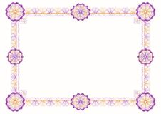 Guilloche: classic decorative frame with rosettes. For diploma, certificate and similar documents royalty free illustration